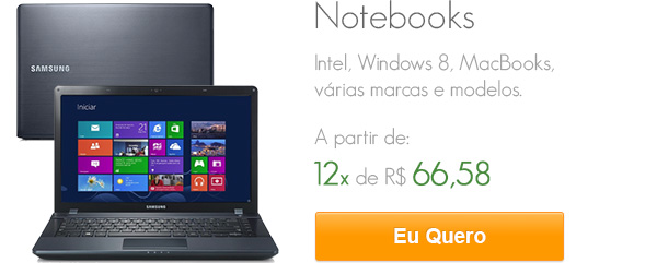 Notebooks - Intel, Windows 8, MacBooks, várias marcas a partir de 12x de 66,58